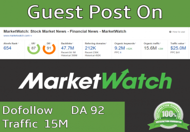 I Will Write & Publish Guest Post On Marketwatch.com Traffic 15 Million With 1 Dofollow Backlink