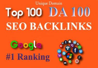 I Will Build 100 Unique Domain SEO Backlinks ON DA100 & PA100 Sites