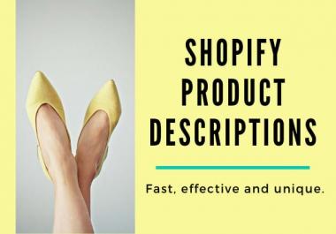 I will craft profitable SEO rich shopify product descriptions