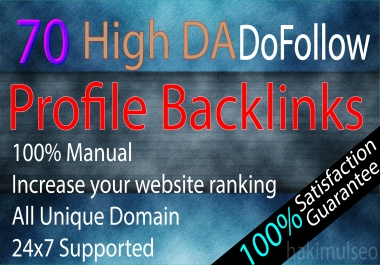 I will create for you 70 High DA Dofollow profile Backlinks