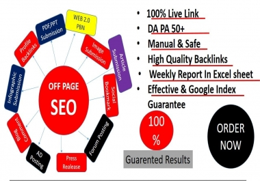 I will Provide Weekly Super Booster full off page SEO with high authority linkbuilding Method