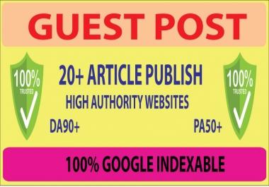 Publish 20 Guest Post Backlinks On High Authority Website DA80+