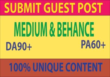 Write And Publish Guest Post On Medium & Behance.Com DA 90+ PA 60+