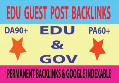 5 Edu & Gov Guest Post With Permanent Backlinks DA90+ PA60+ Sites