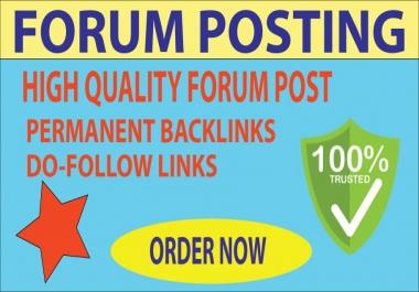 20 Forum Posting Backlinks On High Authority Website.