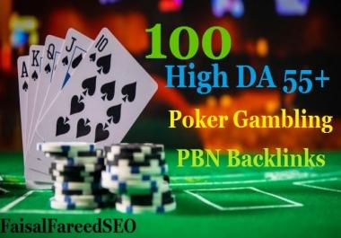Get 100 permanent DA 65-55+ PBN backlinks Casino, Gambling, Poker, Judi Related websites
