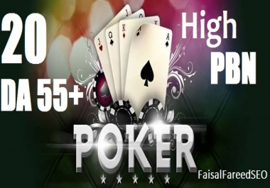 Get 20 High DA 55-50+ casino,poker,gambling and betting sites.