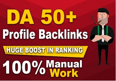 I will provide 100 white hat manual dofollow profile SEO backlinks with high da