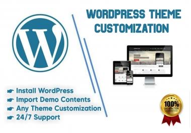 I will install wordpress, theme customization and import demo