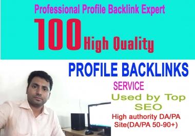 I Will Provide Manually 100 High DA Profile Backlinks for google rank