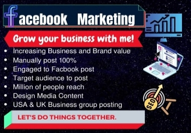 I will promote your business over millions of target audiences by Facebook marketing