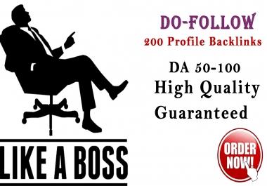 I will do 200 high domain authority profile backlinks