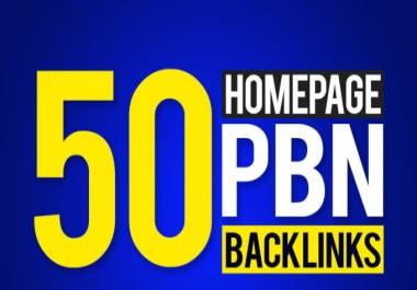 provide 50 homepage seo pbn backlinks fast daliviry