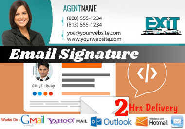 I will create professional clickable HTML gmail and outlook signature