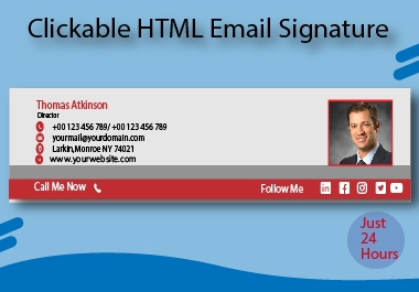 I can code a professional HTML clickable email signature for your business