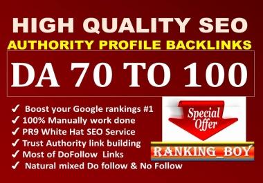 I will provide pr9 high authority profile backlinks seo