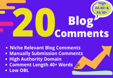 I will write manually 20 Dofollow high DA & PA Niche Relevant Blog Comments