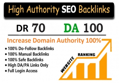 Increase your Domain Authority (MOZ DR 70, DA 100 Plus Quality Dofollow Backlinks