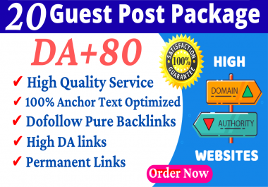 I Will Publish Guest Post On 20 Websites DA 80+ HQ guest posts high Authority Link Building