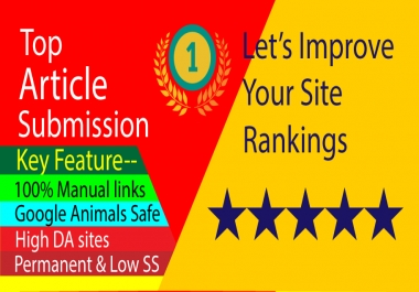 I will provide 30 HQ Article submission backlinks to promote and increase web traffic