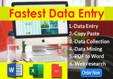 I will be your virtual Assistant for fastest Data Entry work