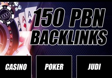 Unique 150 poker/casino/gambeling etc Sites DA 40+ PA 35+ PR 5+ Web 2.0 150 PBN