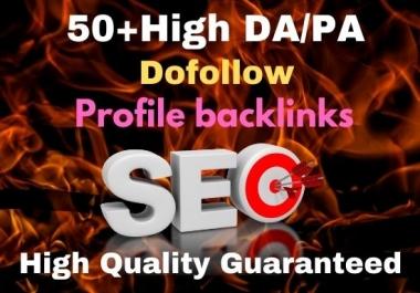 Manual 50 dofollow profile backlinks High DA/PA Site
