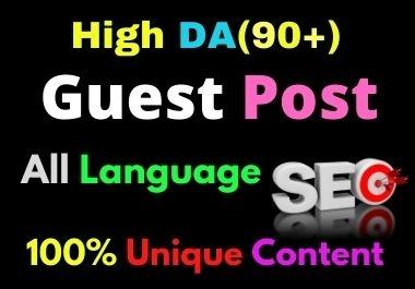 Write and Publish 15 Guest Post High Authority DA 90+ Unique Content Natural Contextual Backlinks