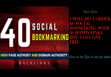 i will do 3 order. 40 social Boomaking with 10 Bonus Links