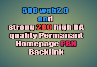 Indexable 500 web2.0 and strong 200 high quality Permanant Homepage PBN Backlink