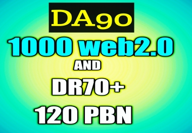 Indexable 1000 web2.0 DA90+ and 120 DR 74-35+ Permanant Homepage PBN Backlink