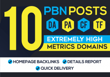 I will provide 10 high da pa permanent homepage pbn backlinks