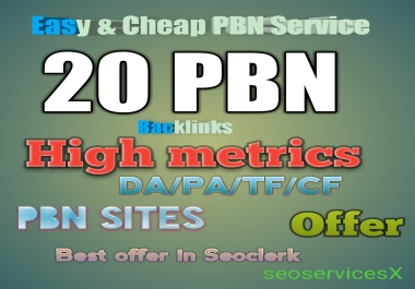 Deliver Offer 20 PBN Home Page Dofollow high metrics Backlinks Cheap PBN Service