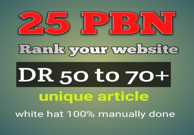 Built DR50+powerful 25 Homepage PBN SEO back links quick rank your website