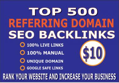 I will create 500 referring domain SEO backlinks for website ranking