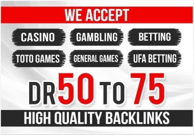 50 High Quality Homepage Backlink Casino, Poker, Gambling DA50+ PA 40+ 100 DOFOLLOW