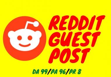 Write And Publish 5 Guest Post On Reddit. Com DA99