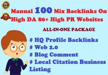 Ultimate Ranking Package-Top Google Result Create Manual 100 Mix Backlinks On High DA PR websites
