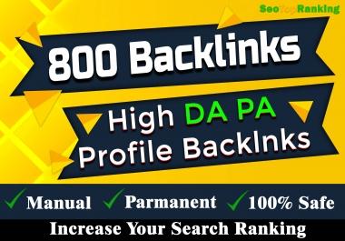 Manually 800 qualityfull profile backlinks DA 80+ SEO link building Service