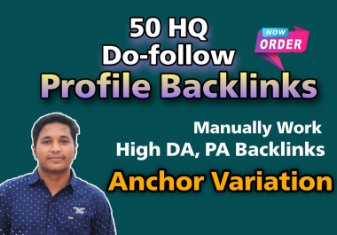 I will do Manually 50 DA80+do-follow High authority profile backlinks for website SEO
