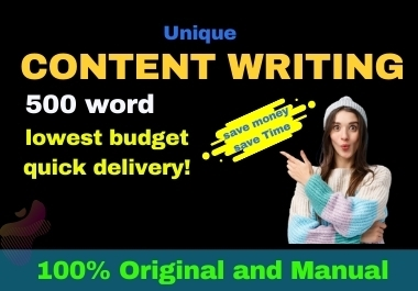 I will do excellent 500 words article writing, content writing, and blog writing on any topic.