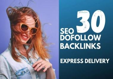 I will do 30 anchor text SEO backlinks dofollow