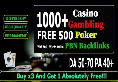 Permanent 1,500 Homepage PBN Backlinks Casino, Poker, Gambling E.T.C online casino sites