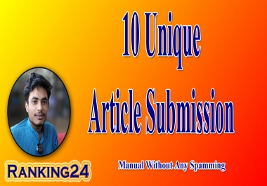 I will do unique article submission with high quality da pa backlinks