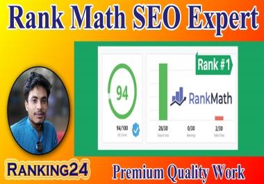 I will do set up rank math SEO with 90 score