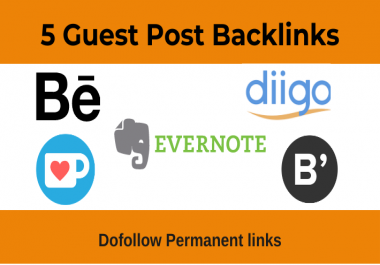 Write and Publish 5 Guest Post with Permanent backlink -DA 80+
