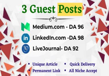 Write and publish 3x High Quality Guest Post Medium,LinkedIn&LiveJournal.com-DA92+