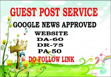 I will do guest post on da80 google news site permanent dofollow backlinks