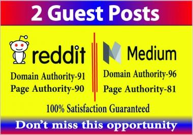 Publish 2 guest post high DA-90 PA-90 medium reddit site