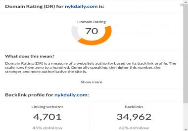 Do guest post on Dr 70 website permanet live dofollow backlink